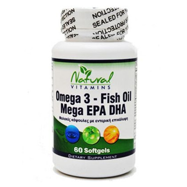 Omega 3 (Ωμέγα 3) Enteric Caoted Fish Oil 60 Caps Natural Vitamins