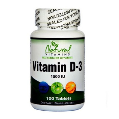 Vitamin D-3 1.500IU 100 Tabs Natural Vitamins