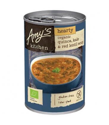 Βιολογική Σούπα με Κινόα, Λάχανο Κέιλ & Κόκκινη Φακή Χωρίς Γλουτένη Bio Amys Kitchen