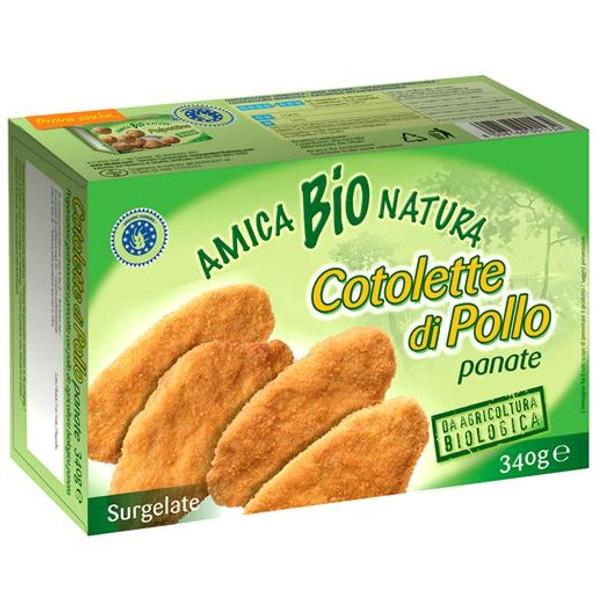 Βιολογικές Κοτολέτες Κοτόπουλου Πανέ 340γρ Bio Amica Natura