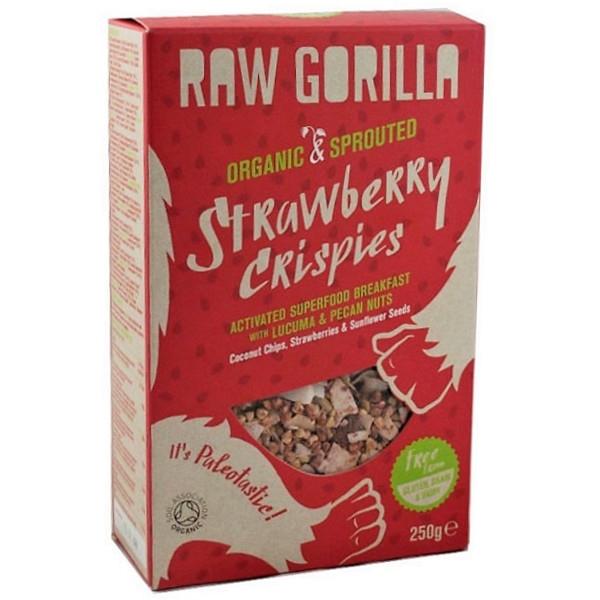 Βιολογικό Ενεργοποιημένο Πρωϊνό με Φράουλα Χωρίς Γλουτένη 250γρ Raw Gorilla