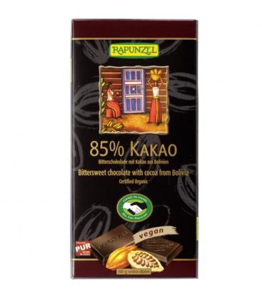 Βιολογική Σκούρη Σοκολάτα με 85% Κακάο Βολιβίας 80γρ Bio Rapunzel