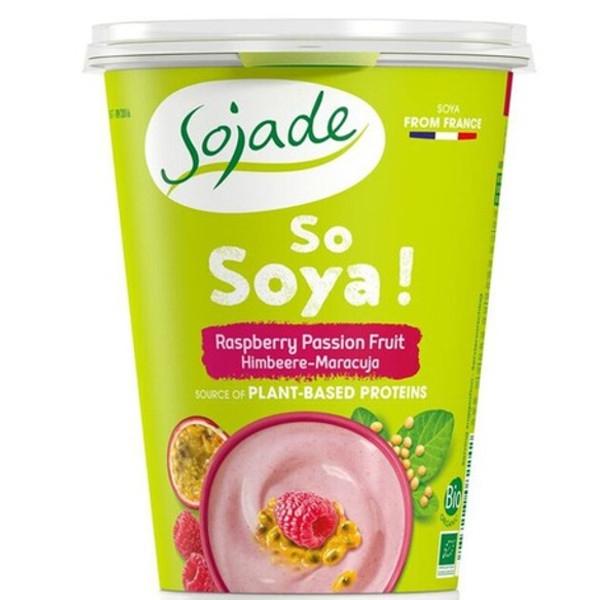 Βιολογικό Επιδόρπιο Σόγιας με Βατόμουρο & Φρούτα του Πάθους 400γρ Sojade