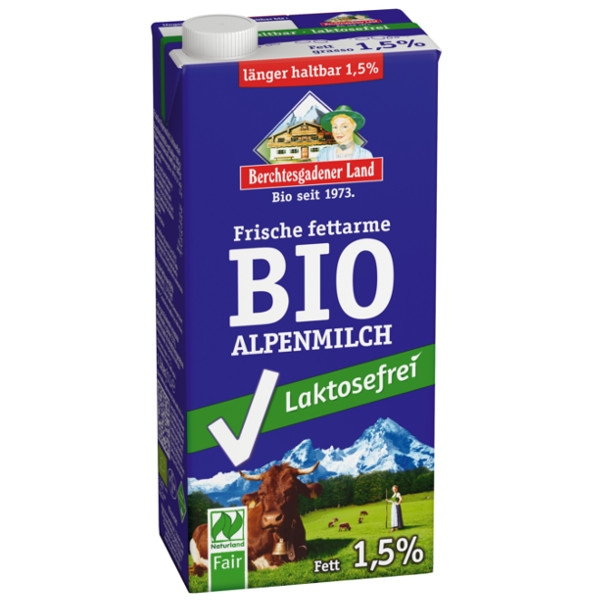Γάλα Αγελάδος Χωρίς Λακτόζη Βιολογικό 1,5% Bio 1 Λίτρο Berchtesgadener Land