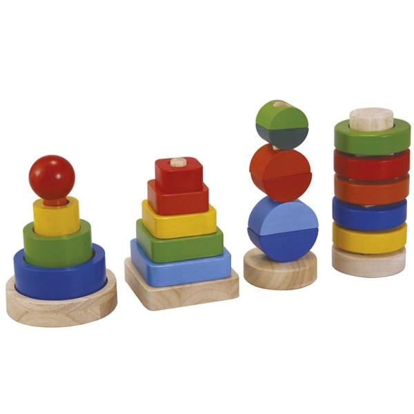 Πυραμίδα (Σετ 4 τμχ) Plantoys Οικολογικό, Ξύλινο, Εκπαιδευτικό Παιχνίδι