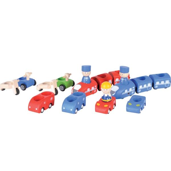 Σετ Οικολογικών Τρένων και Αυτοκινήτων Plantoys Οικολογικό, Ξύλινο, Εκπαιδευτικό Παιχνίδι