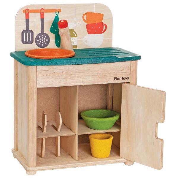 Νεροχύτης & Ψυγείο (Εξοπλισμένο) Plantoys Οικολογικό, Ξύλινο, Εκπαιδευτικό Παιχνίδι
