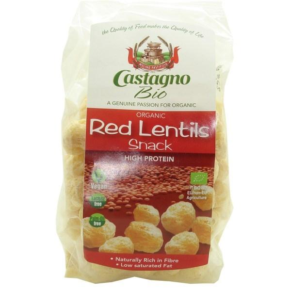 Βιολογικό Σνακ Καλαμποκιού με Κόκκινες Φακές 50γρ Bio Castagno