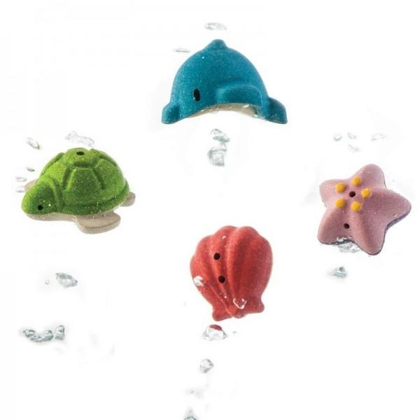 Σετ Μπάνιου με Ζώα της Θάλασσας Plantoys Ξύλινο, Εκπαιδευτικό, Οικολογικό Παιχνίδι