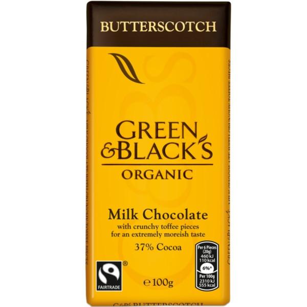 Βιολογική Σοκολάτα Γάλακτος με Butterscotch Bio 90γρ., Green & Blacks