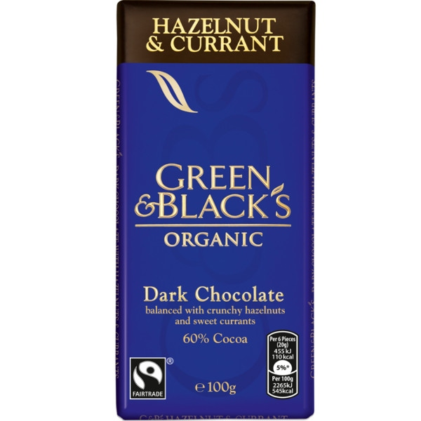 Βιολογική Σκούρη Σοκολάτα με Φουντούκι & Κορινθιακή Σταφίδα Bio 100γρ., Green & Blacks