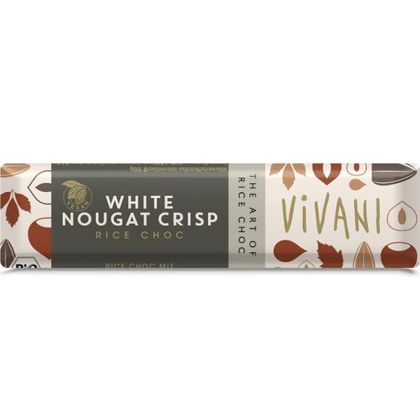 Βιολογική Μπάρα Λευκής Σοκολάτας με Νουγκά 35 γρ. Vivani