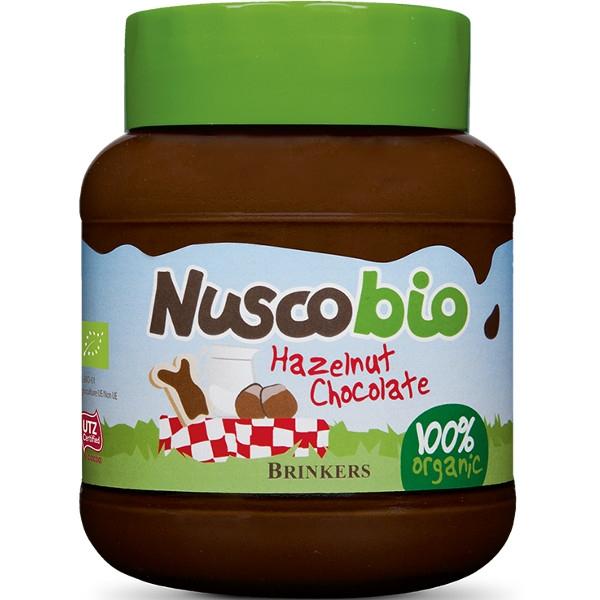 Βιολογική Κρέμα Πραλίνας Φουντουκιού με Σοκολάτα Nuscobio 400 γρ. Bio Brinkers