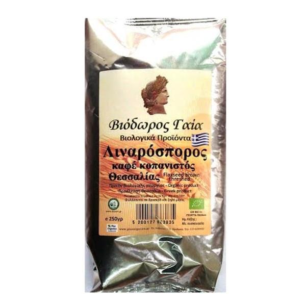 Λιναρόσπορος Καφέ Κοπανιστός, Βιολογικός, Θεσσαλίας, 250 γρ., Bio Βιόδωρος Γαία