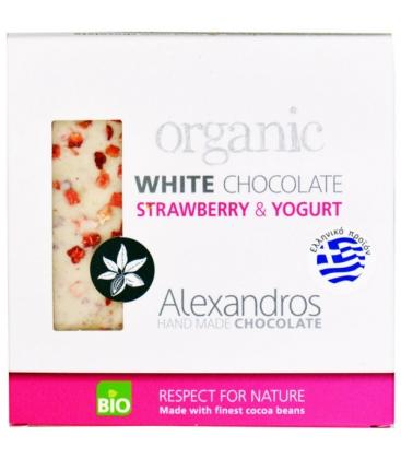 Βιολογική Λευκή Σοκολάτα με Φράουλα & Γιαούρτι 90γρ., Bio Alexandros