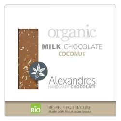 Βιολογική Σοκολάτα Γάλακτος με Καρύδα 90γρ Bio Alexandros