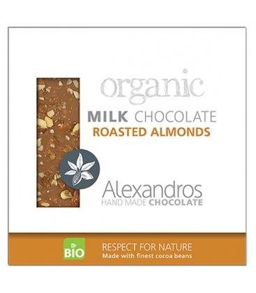 Βιολογική Σοκολάτα Γάλακτος με Καβουρντισμένα Αμύγδαλα 90γρ., Bio Alexandros