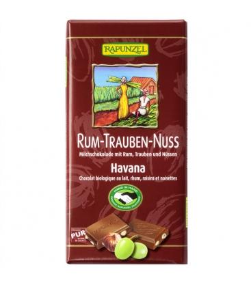 Βιολογική Σοκολάτα με Ρούμι, Σταφίδες & Φουντούκι, 100γρ., Bio, Rapunzel