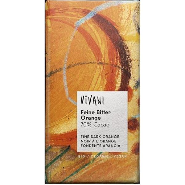 Βιολογική Μαύρη Σοκολάτα με Πορτοκάλι 100γρ., Βio, Vivani