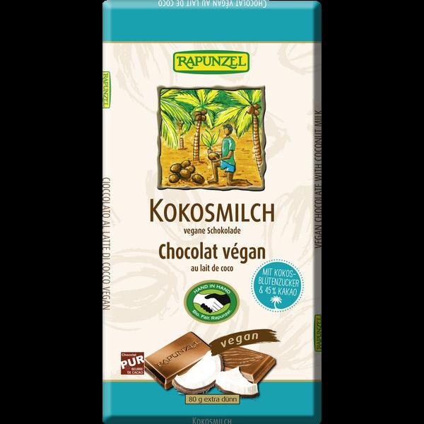Βιολογική Σοκολάτα με Γάλα Καρύδας, Vegan, 80 γρ., Bio, Rapunzel