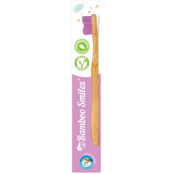 Οδοντόβουρτσα Παιδική Πολύ Μαλακή από Μπαμπού Μωβ, Bamboo Smiles