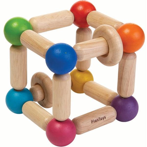 Κύβος με Δακτυλίους, Plantoys, Ξύλινο, Οικολογικό, Εκπαιδευτικό, Παιχνίδι