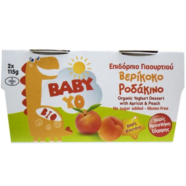 Βιολογικό Επιδόρπιο Γιαουρτιού με Βερύκοκο & Ροδάκινο, Χωρίς Ζάχαρη & Γλουτένη, Bio, 2Χ115 γρ., Baby Yo