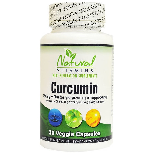 Curcumin 750mg With Bioperine 30 Caps, Natural Vitamins