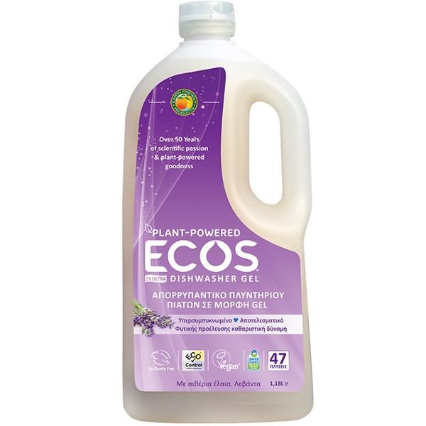 Βιολογικό Υγρό Τζελ Πλυντηρίου Πιάτων με Λαμπρυντικό Βιολογική Λεβάντα 1.18lt, Ελληνικό, Ecos - Earth Friendly