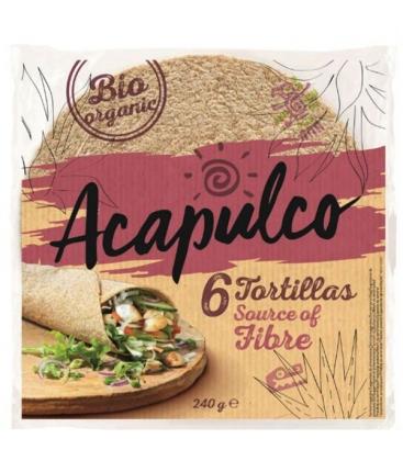 Βιολογικές Πίτες Τορτίγιας Ολικής 240 γρ., Bio Acapulco