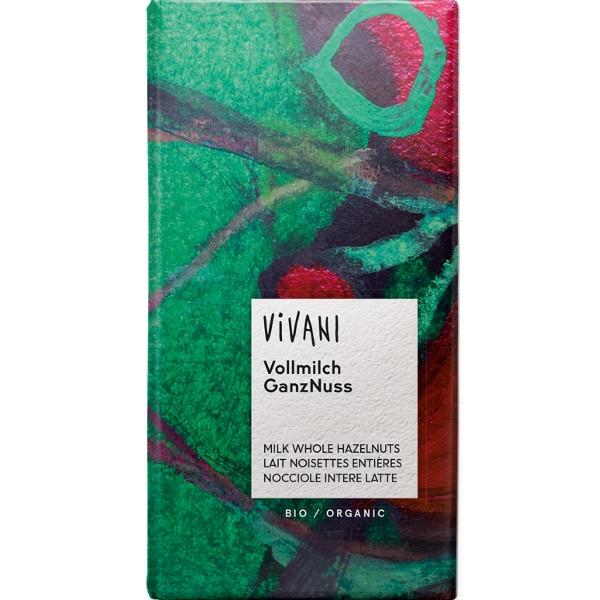 Βιολογική Σοκολάτα Γάλακτος με Ολόκληρα Φουντούκια Bio 100γρ., Vivani
