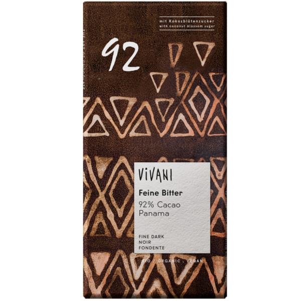 Βιολογική Σοκολάτα Υγείας με 92% Κακάο Bio 80γρ., Vivani