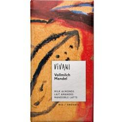Βιολογική Σοκολάτα Γάλακτος με Αμύγδαλα Bio 100γρ., Vivani