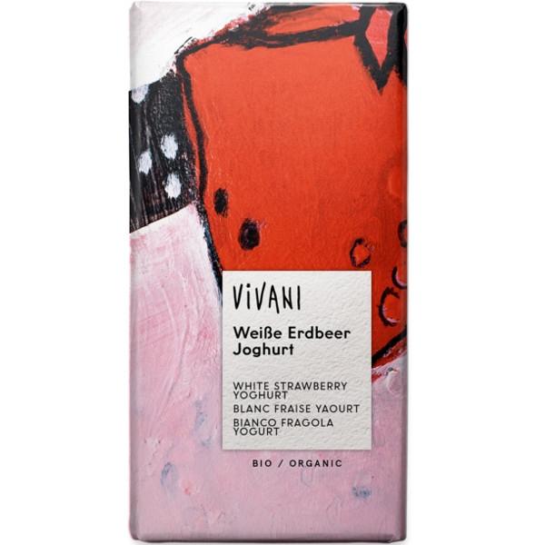 Βιολογική Σοκολάτα Λευκή με Φράουλα & Γιαούρτι, Bio 100γρ., Vivani