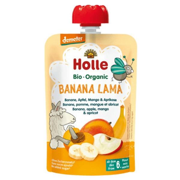 Βιολογικός Πουρές Mπανάνα Μάνγκο Βερύκοκο & Μήλο Bio 100γρ., Holle