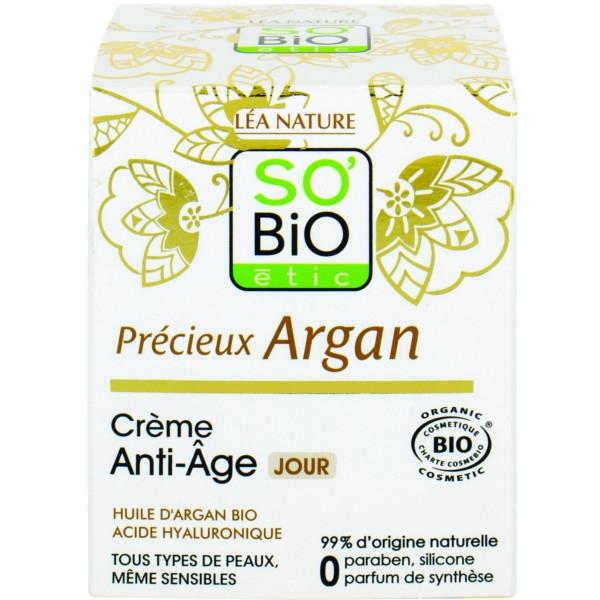 Βιολογική Αντιγηραντική Κρέμα Ημέρας με Argan & Υαλουρονικό Οξύ 50 ml, So Bio