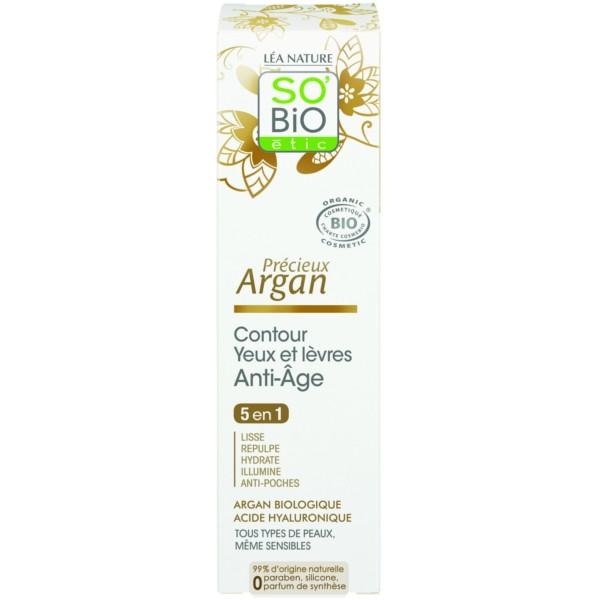 Βιολογική Κρέμα για τα Μάτια & τα Χείλη με Argan & Yαλουρονικό Οξύ 15ml, So Bio