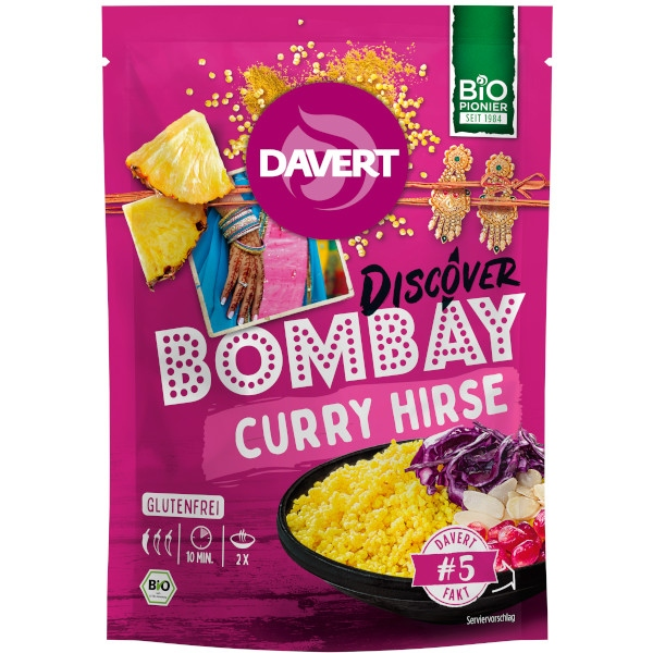 Έτοιμο Γεύμα με Κεχρί, Bombay Curry Hirse, 125γρ., Bio, Davert