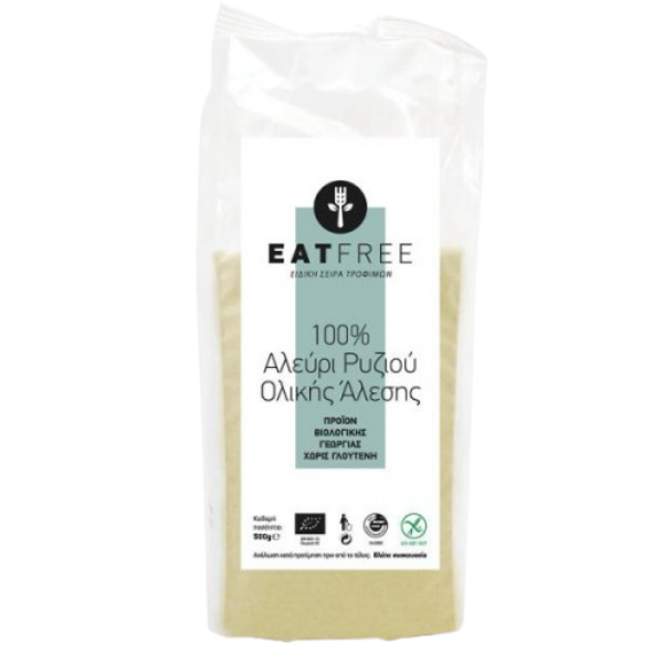 Βιολογικό Αλεύρι Ρυζιούν Ολικής Άλεσης Χωρίς Γλουτένη Bio 500γρ., Ελληνικό, Eat Free