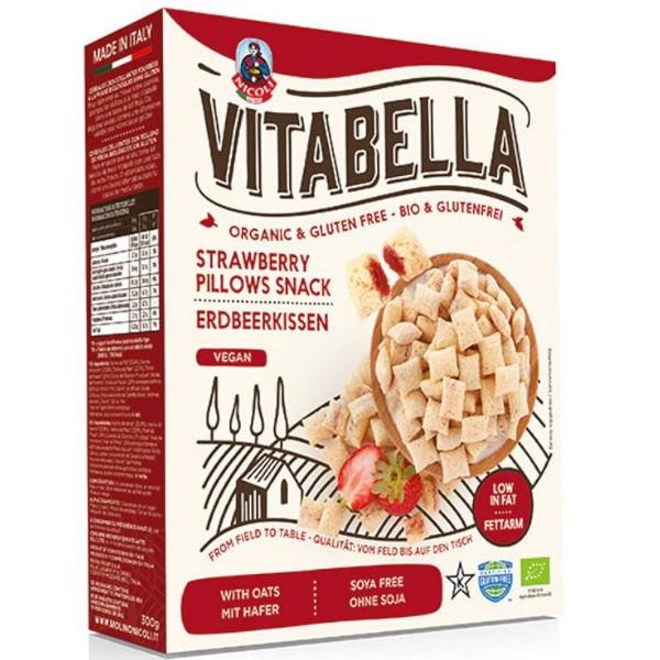 """Βιολογικά """"Μαξιλαράκια"""" με Γέμιση Φράουλα, Χωρίς Γλουτένη, 300 γρ., Vitabella, Nicoli"""