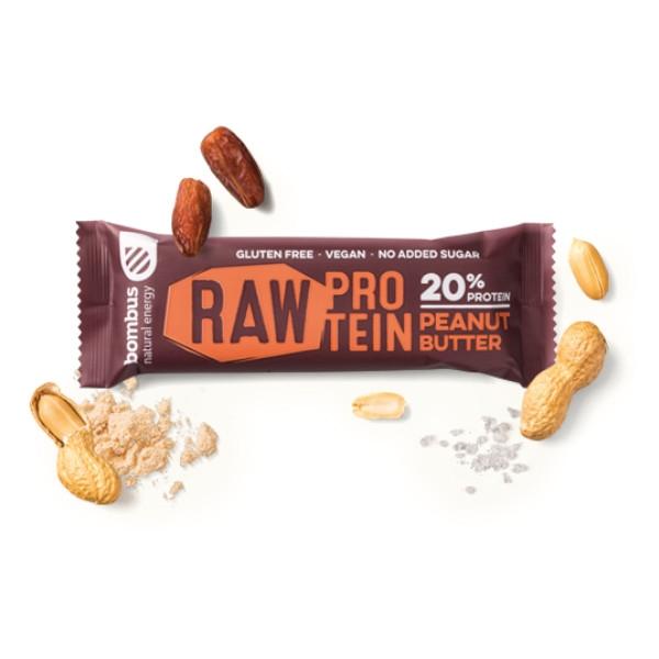 Μπάρα Πρωτεΐνης Raw με Φυστικοβούτυρο, 50γρ., Bombus