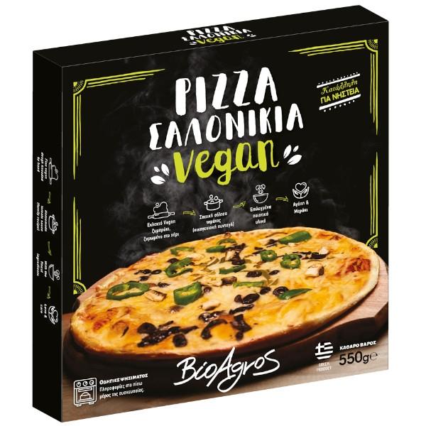 """Πίτσα """"Σαλονικιά"""" , Vegan, 550 γρ., Βιοαγρός"""