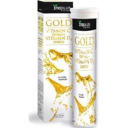 Βιταμίνη Gold C 1500 + D3 2000, Αναβράζουσες, 20 Ταμπλέτες, Inoplus