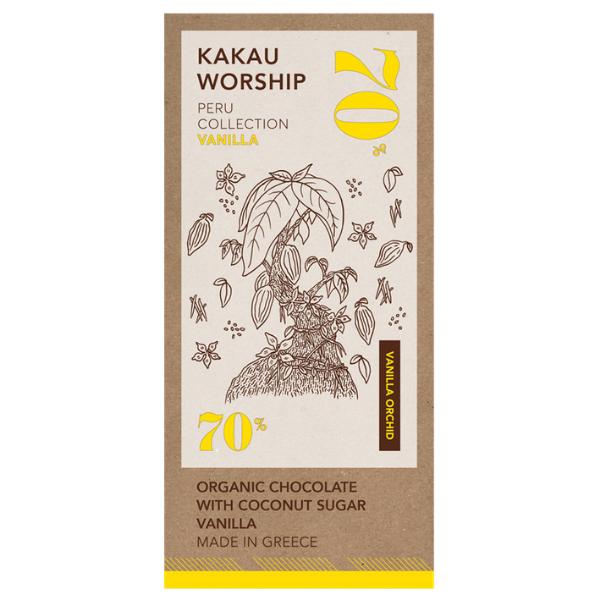 Βιολογική Σοκολάτα 70% Κακάο Περού με Βανίλια, 75 γρ., Bio, Kakau