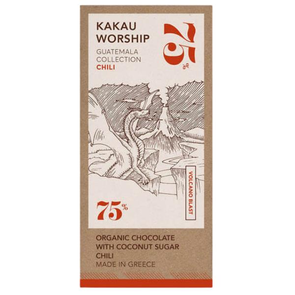 Βιολογική Σοκολάτα 75% Κακάο Γουατεμάλα με Τσίλι, 75 γρ., Bio, Kakau