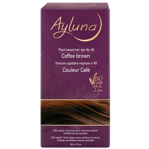 Βιολογική Βαφή Μαλλιών, Coffee Brown N 80, 100γρ., Bio, Ayluna