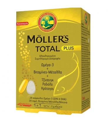 Συμπλήρωμα Moller's Total Plus, Ω-3, Βιταμίνες, Μέταλλα, Βότανα, 28+28 Κάψουλες