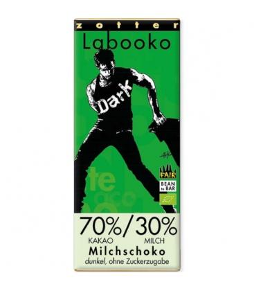 """Βιολογική Σοκολάτα Γάλακτος 70% """"Dark Style"""" Χωρίς Ζάχαρη Bio 70γρ Labooko Zotter"""