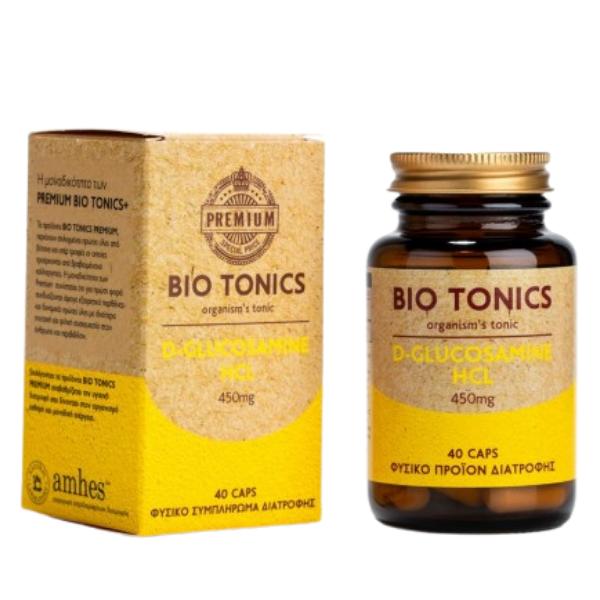 D-Glucosamine 450mg, 40 κάψουλες, Bio, Premium Bio Tonics+