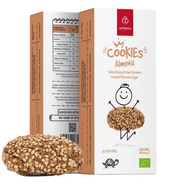 Βιολογικά Cookies Αμυγδάλου με Ταχίνι, Μέλι και Ζάχαρη Ανθέων Καρύδας (με Επικάλυψη από Καφέ Σουσάμι), 39γρ., Bio, anthema